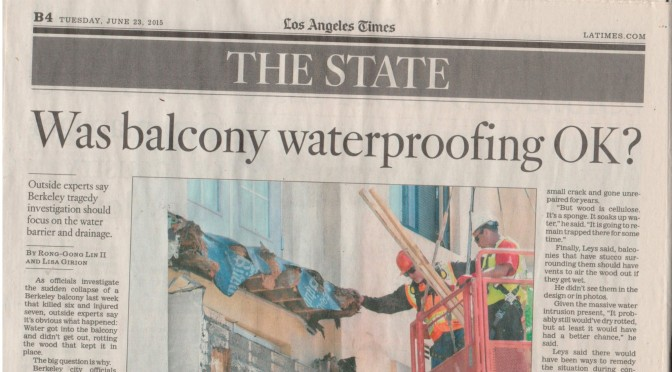 California Balcony Inspections; Inspectors Should Not Be Bidding On The Work